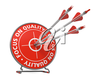 Focus on Quality Concept. Three Arrows Hit in Red Target.