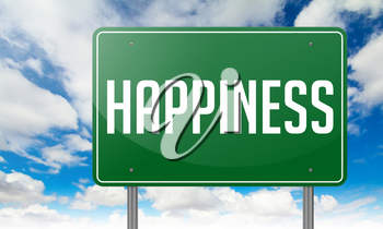 Highway Signpost with Happiness wording on Sky Background.