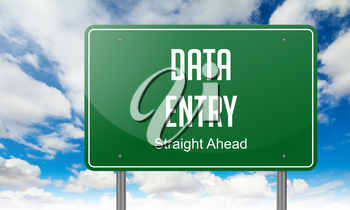 Highway Signpost with Data Entry wording on Sky Background.