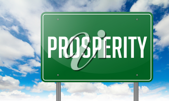 Highway Signpost with Prosperity wording on Sky Background.
