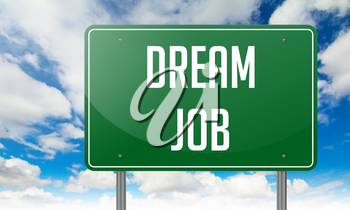 Highway Signpost with Dream Job wording on Sky Background.
