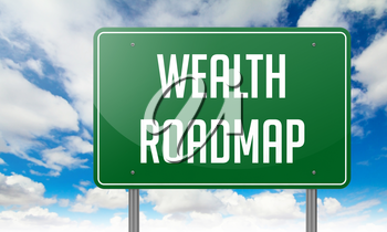 Highway Signpost with Wealth Roadmap wording on Sky Background.