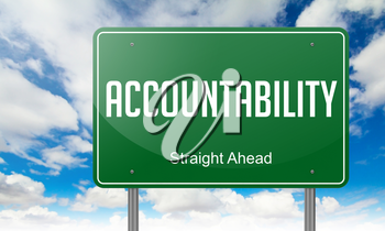 Highway Signpost with Accountability Wording on Sky Background.
