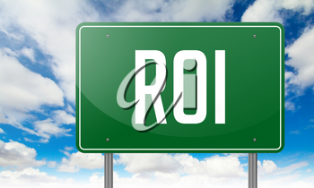 Highway Signpost with ROI wording on Sky Background.