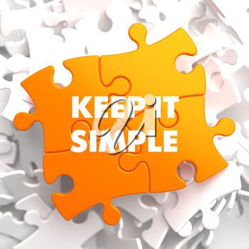 Keep it Simple on Yellow Puzzle. On White Background.