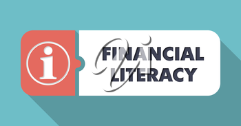 Financial Literacy Concept in Flat Design with Long Shadows.