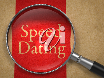 Speed Dating through Magnifying Glass on Old Paper with Red Vertical Line.