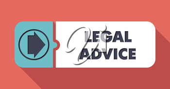 Legal Advice Button in Flat Design with Long Shadows on Scarlet Background.