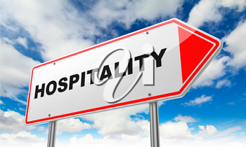 Hospitality - Inscription on Red Road Sign on Sky Background.