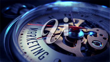 Marketing on Pocket Watch Face with Close View of Watch Mechanism. Time Concept. Vintage Effect.