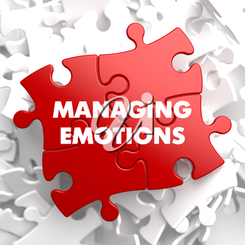 Managing Emotions on Red Puzzle on White Background.