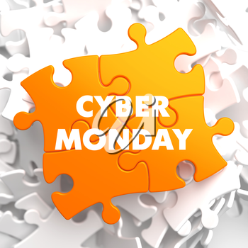 Cyber Monday on Yellow Puzzle on White Background.
