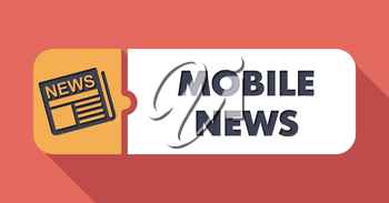 Mobile News Button in Flat Design with Long Shadows on Scarlet Background.