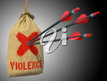 Violence - Three Arrows Hit in Red Mark Target on a Hanging Sack on Grey Background.