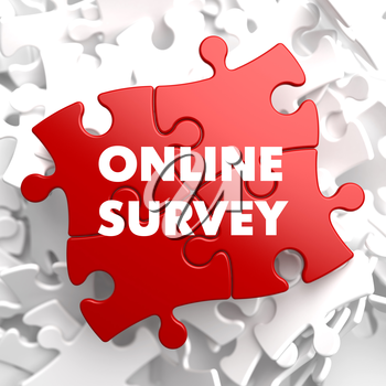 Online Survey on Red Puzzle on White Background.