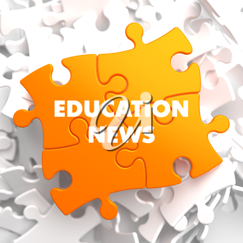 Education News on Orange Puzzle on White Background.