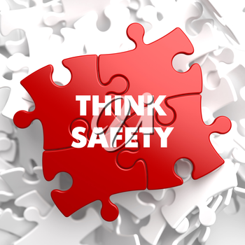 Think Safety on Red Puzzle on White Background.