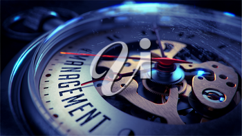 Management on Pocket Watch Face with Close View of Watch Mechanism. Time Concept. Vintage Effect.