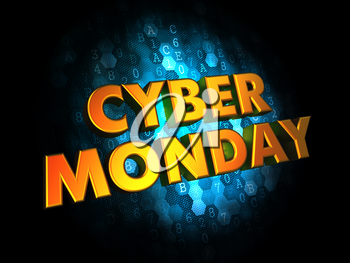 Cyber Monday - Gold 3D Words on Digital Background.