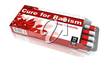 Cure for Racism - Red Open Blister Pack Tablets Isolated on White.