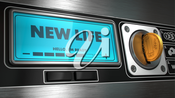 New Life- Inscription on Display of Vending Machine. Business Concept.