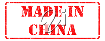 Made in China - inscription on Red Rubber Stamp Isolated on White.