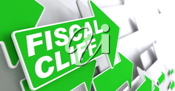 Fiscal Cliff on Direction Sign - Green Arrow on a Grey Background.