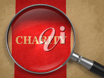 Charity through Magnifying Glass on Old Paper with Red Vertical Line.