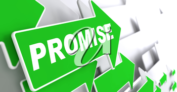 Promise on Direction Sign - Green Arrow on a Grey Background.