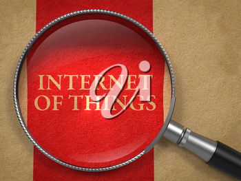 Internet of Things through Magnifying Glass on Old Paper with Red Vertical Line.