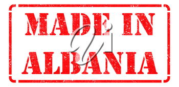 Made in Albania - inscription on Red Rubber Stamp Isolated on White.