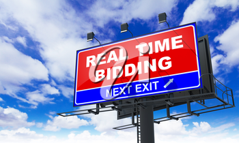 Real Time Bidding - Red Billboard on Sky Background. Business Concept.