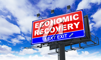 Economic Recovery - Red Billboard on Sky Background. Business Concept.
