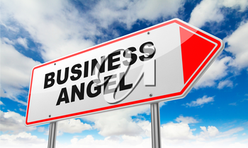 Business Angel Inscription on Red Road Sign on Sky Background.