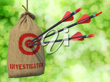 Investigation - Three Arrows Hit in Red Target on a Hanging Sack on Green Bokeh Background.