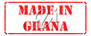 Made in Ghana - Inscription on Red Rubber Stamp Isolated on White.