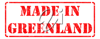 Made in  - Inscription on Red Rubber Stamp Isolated on White.