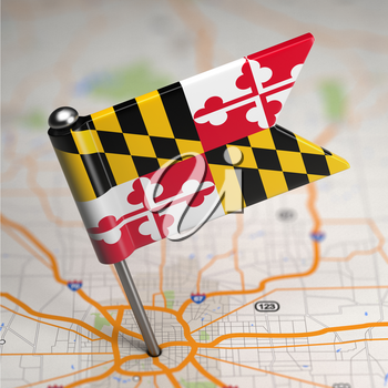 Small Flag of Maryland on a Map Background with Selective Focus.