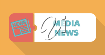 Media News Button in Flat Design with Long Shadows on Blue Background.
