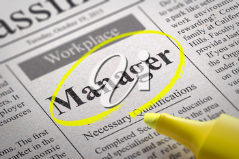 Manager Jobs in Newspaper. Job Search Concept.