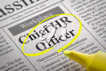 Chief HR Officer Vacancy in Newspaper. Job Search Concept.