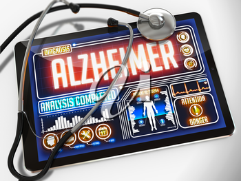 Medical Tablet with the Diagnosis of Alzheimer on the Display and a Black Stethoscope on White Background.