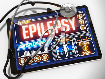Epilepsy on the Display of Medical Tablet and a Black Stethoscope on White Background.