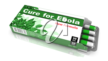 Cure for Ebola - Green Open Blister Pack Tablets Isolated on White.