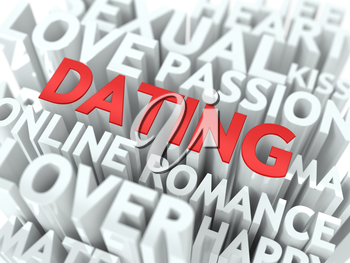 Dating - Red Word on White Wordcloud Concept.