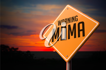 MDMA on Warning Road Sign on Sunset Sky Background.