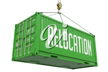 Relocation - Green Cargo Container hoisted with hook Isolated on White Background.