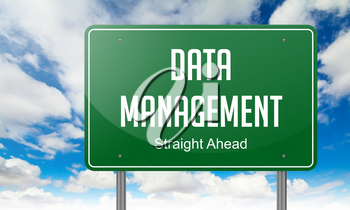Data Management on Green Highway Signpost on Sky Background.