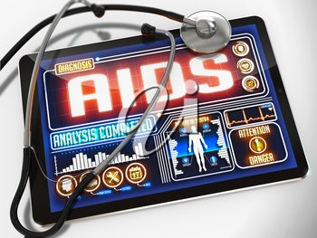 AIDS - Diagnosis on the Display of Medical Tablet and a Black Stethoscope on White Background.