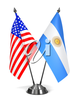 USA and Argentina - Miniature Flags Isolated on White Background.